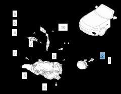 Lámpara faro delantero H11 55W 12V