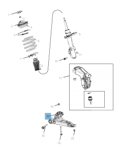 Brazo oscilante para suspensión delantera inferior para Jeep Cherokee