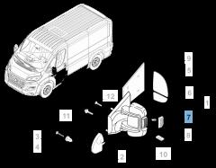 Intermitente lateral en espejo izquierdo para Fiat y Fiat Professional