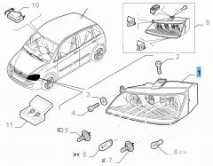 Faro delantero derecho con luz antiniebla delantera para Fiat y Fiat Professional