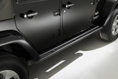 Estriberas negras plataformas laterales bajo carrocería para Jeep Wrangler