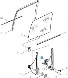Elevalunas eléctrico adecuado para puerta lateral corredera derecha