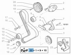 Kit de distribución (correa, tensor de correa fijo y regulable) - 3 piezas para Fiat Professional Ducato