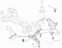 Brazo oscilante izquierdo para suspensión delantera para Fiat y Fiat Professional