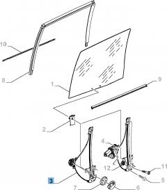 Elevalunas manual adecuado para puerta lateral corredera izquierda