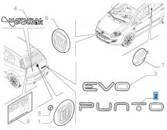 Sigla de modelo Punto trasera para Fiat Punto Evo