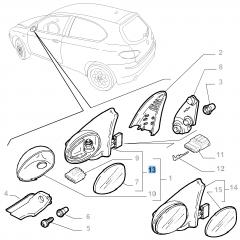 Espejo retrovisor exterior derecho eléctrico para Alfa Romeo 147
