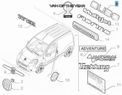 Sigla de modelo Qubo trasera para Fiat Professional